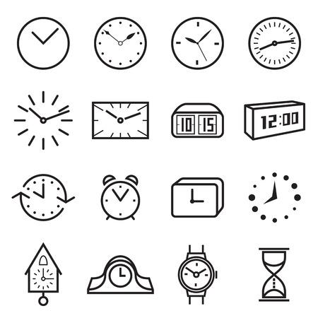 Iconos del reloj. Ilustración del vector Ilustración de vector