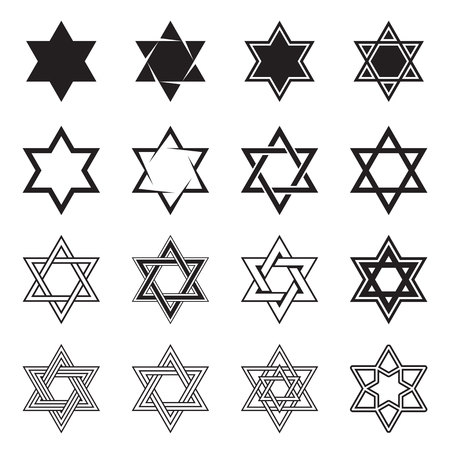 hexagram: Six-pointed star icons. Collection of 16 hexagram symbols isolated on a white background. Star of David icons. Vector illustration