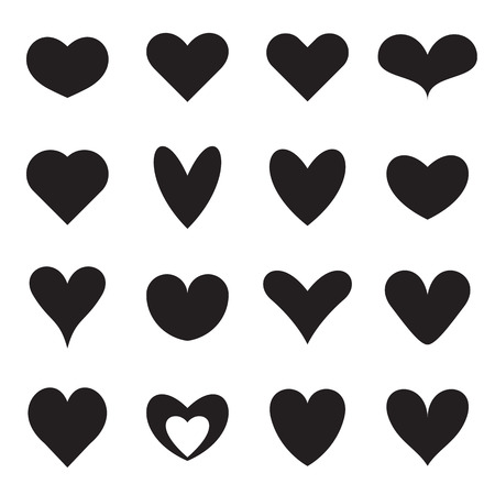 Heart symbol shapes. Set of sixteen different symmetrical templates of heart symbols for icons, web buttons, patterns, Valentines, etc. Vector illustration