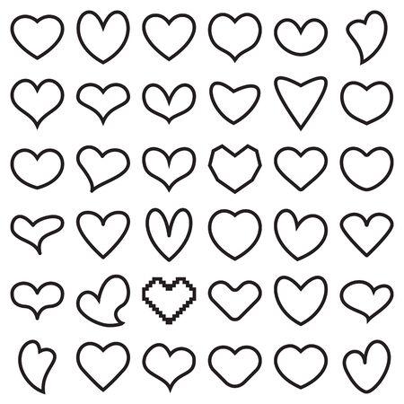 Linear heart symbol icons. Vector illustration Ilustração