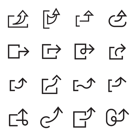Arrow share icons for web interface. Linear vector illustration