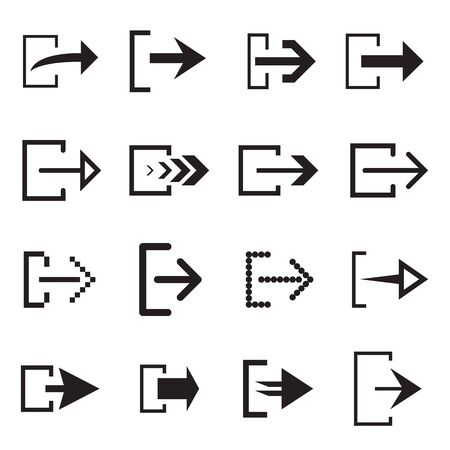 Log out arrow icons for web interface. Vector illustration 向量圖像