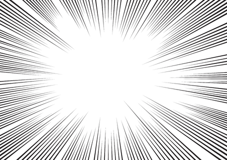 Background of radial lines for comic books. Manga speed frame, superhero action, explosion background. Black and white vector illustration Illustration