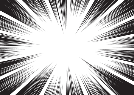Background of radial lines for comic books. Manga speed frame, superhero action, explosion background. Black and white vector illustration 矢量图像