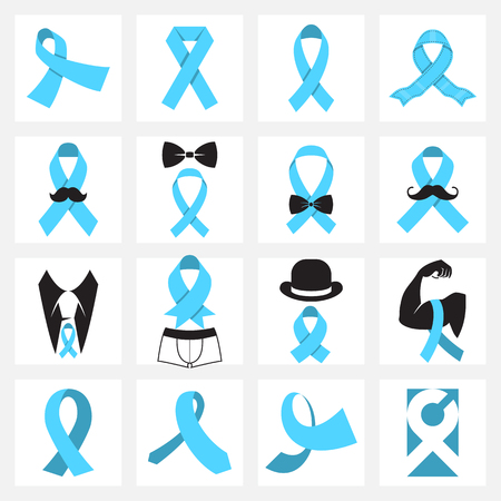 Prostate cancer awareness symbols. Blue ribbons awareness icons. Vector illustration 矢量图像