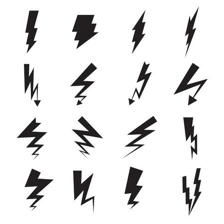 Lightning bolt icons isolated on a white background. Vecor illustration