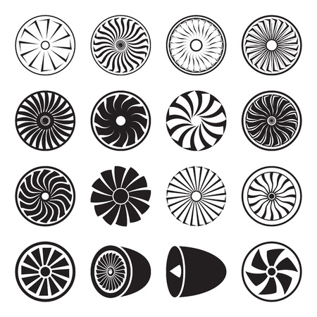 Turbine icons vector isolated on a white background. Vector illustration 矢量图像