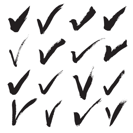 Collection of 16 hand painted check marks (ticks) isolated on a white background. Vector illustration