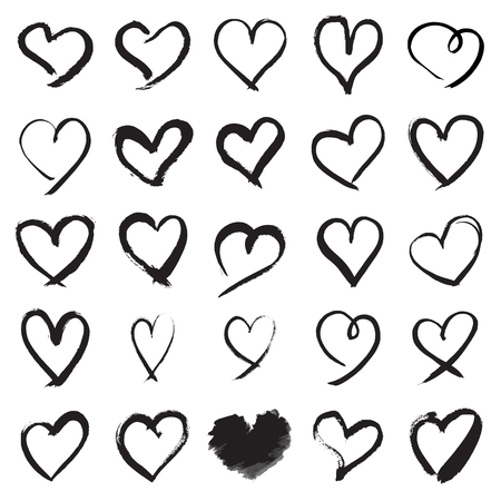 Heart symbols. Collection of 25 hand painted heart signs isolated on a white background. Vector illustration