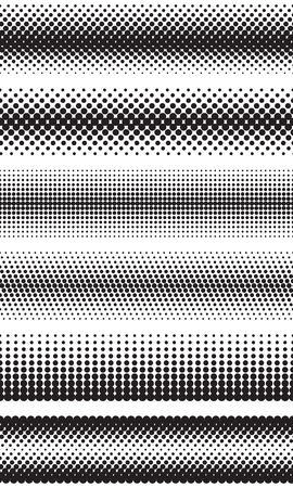 Seamless halftone dots effect borders Illustration