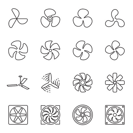 Fan icons. Collection of 16 linear line symbols isolated on a white background. Vector illustration. Editable stroke Illustration