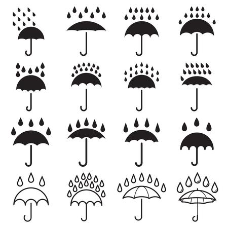Umbrella and rain drops icons