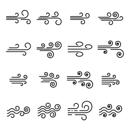 Wind icons. Linear style symbols Illustration