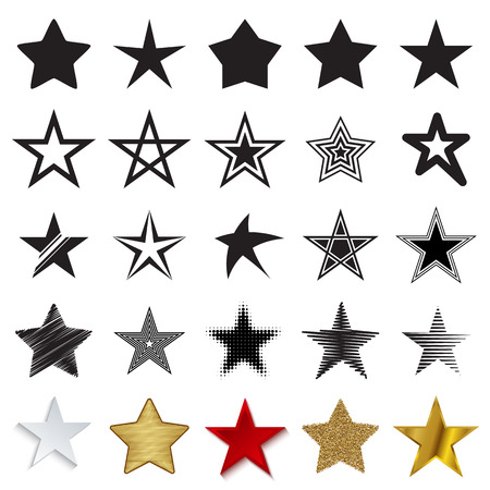 Star icons. Set of different star symbols isolated on a white background. Vector illustration
