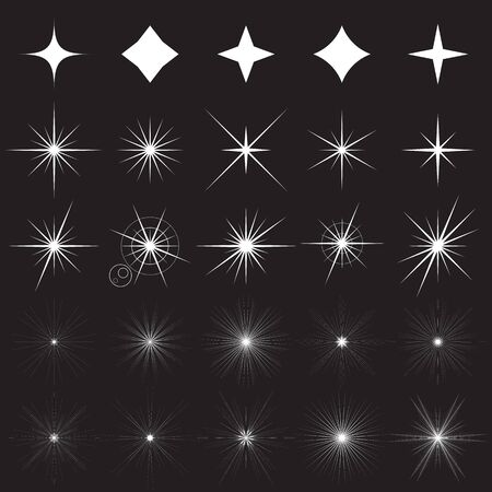 Sparkle symbols. Collection of white sparkle icons and illustrations of bright flashes of light not transparent effects on a black background. Vector