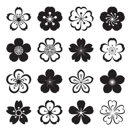 Sakura icons isolated on a white background