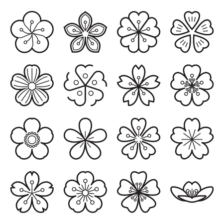 Sakura icons. Collection of 16 linear Japanese cherry blossom symbols isolated on a white background. Editable stroke. Vector illustration