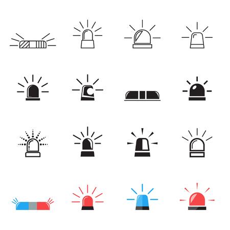 Flashing alarm signal. Police, fire, emergency, ambulance car light flashing icons. Vector illustration