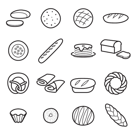 Bread icons. Collection of symbols of different kinds of bread, flour baker goods. Vector illustration. Editable stroke Illustration