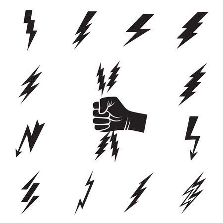 Lightning bolt icons. Collection of 12 black lightning bolt symbols and a hand whith lightnings pictogram isolated on a white background. Vector illustration