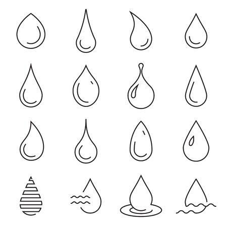 Drop icons. Collection of linear droplet symbols isolated on a white background.