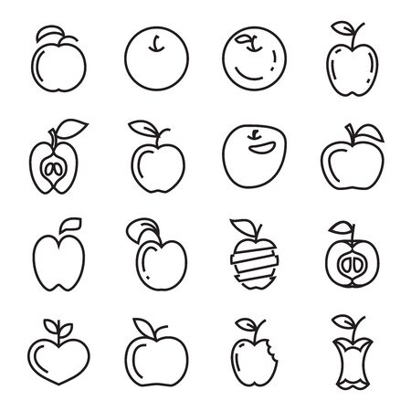 Apple Icons. Apple Background Thin Line Symbols Isolated on a White Background.