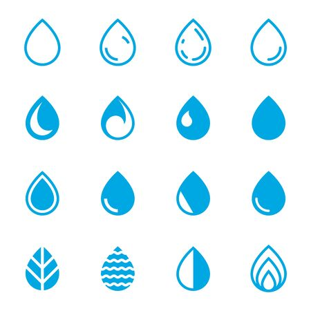 Drop Icons. Set of Blue Droplet Symbols on a White Background.