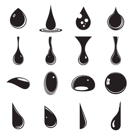 Drops of various liquids. Collection of 16 black drop icons on a white background. Symbols of droplets, tears, dews, raindrops Illustration