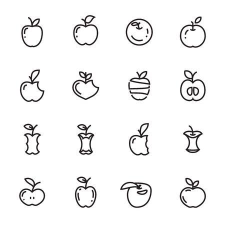 Apple thin line symbols isolated on white