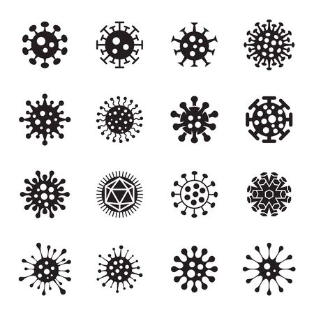 Collection of Black Virus Symbols Isolated On White