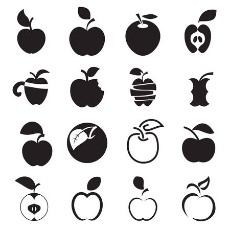 Apple Icons Set of Different Black Apple Symbols Isolated On White 矢量图像
