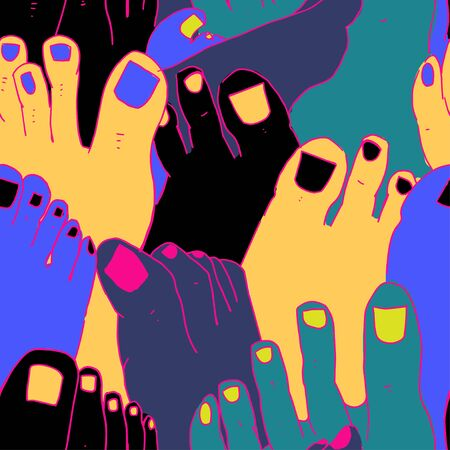 Crazy seamless pattern with bright nails and feet. Doodle Style.