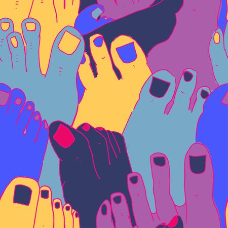 Modern seamless pattern with bright nails and feet. Doodle Style.