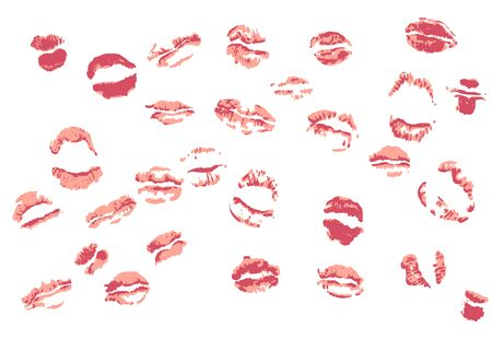 Traces from kisses. Set of 29 vectors lipstick marks.