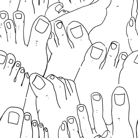Line nail and foot seamless pattern. Background on a separate layer. Doodle Style.