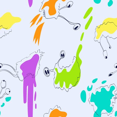 Monsters. Seamless pattern. Hand drawing effect. Illustration