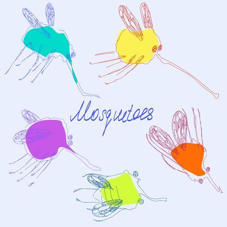 Stylized mosquitoes. Hand drawing effect.