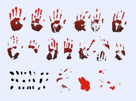 Vector handprints and fingers. Suitable for design related to thrillers, horrors or criminal stories.