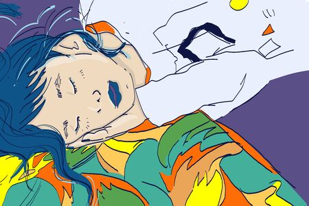 Vector illustration of a sleeping Asian girl. Bright interesting illustration with a girl on a pillow. Illustration