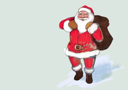 Santa claus. Digital art. Free space for text.