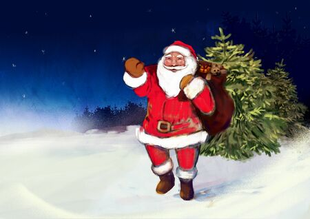 Greeting card with Santa Claus. Digital art. Free space for text. Stockfoto
