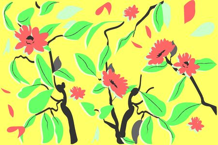 Spring flowers in bright colors. Vector image, neon combination Illustration