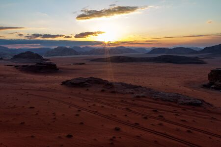 wadi: Wadi Rum desert sunset,Jordan Stock Photo