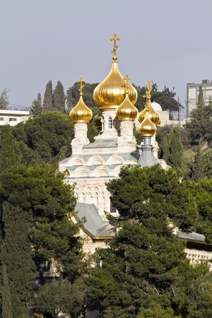 Orthodox church of St  Mary Magdalene at Olives Mount of Jerusalem, Israel photo