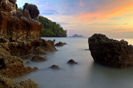 sunset over Ao Nang beach,Krabi,Thailand photo