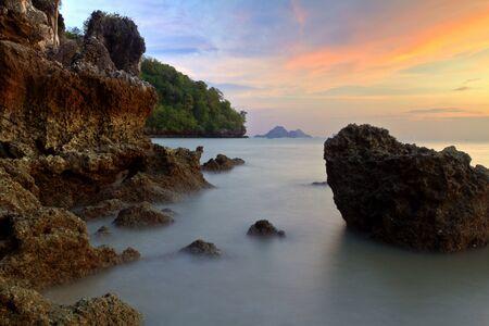 ao: sunset over Ao Nang beach,Krabi,Thailand Stock Photo