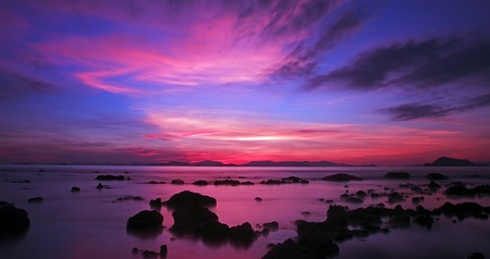 sunset paradise beach over Ao Nang,Krabi,Thailand photo