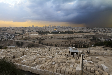 The Jewish cemetery on the Mount of Olives, in Jerusalem, Israel photo