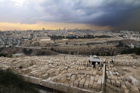 mount of olives: The Jewish cemetery on the Mount of Olives, in Jerusalem, Israel