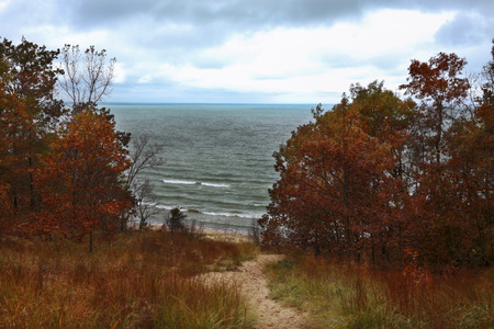 atop: An autumn view of Lake Michigan from atop a sand dune